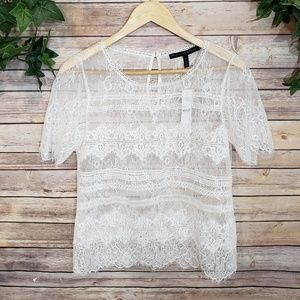 🆕️White House Black Market Lace Overlay Top🆕️